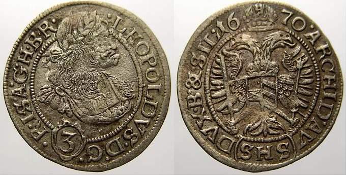 3 Kreuzer 1670 Schlesien-Der oberste Lehnsherr Leopold 1658-1705. Vorzüglich