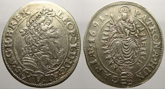 15 Kreuzer 1691 KB Haus Habsburg Leopold I. 1658-1705. Sehr schön+