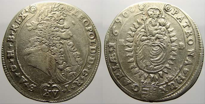 15 Kreuzer 1690 KB Haus Habsburg Leopold I. 1658-1705. Sehr schön