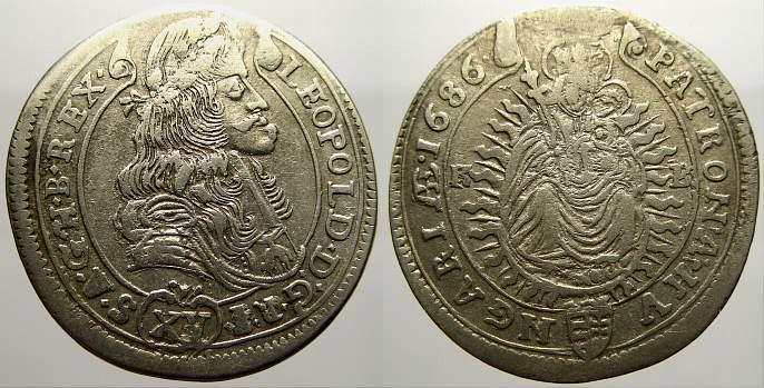 15 Kreuzer 1686 KB Haus Habsburg Leopold I. 1658-1705. Sehr schön