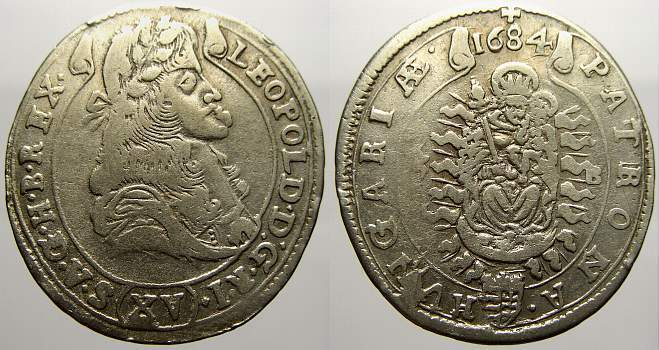 15 Kreuzer 1684 KB Haus Habsburg Leopold I. 1658-1705. Sehr schön