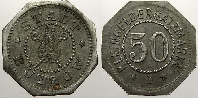 50 Pfennig 1916-1921 Bützow (Mecklenburg-Schwerin) Stadt Bützow Stadt 1916-1921. Etwas Belag. Sehr schön