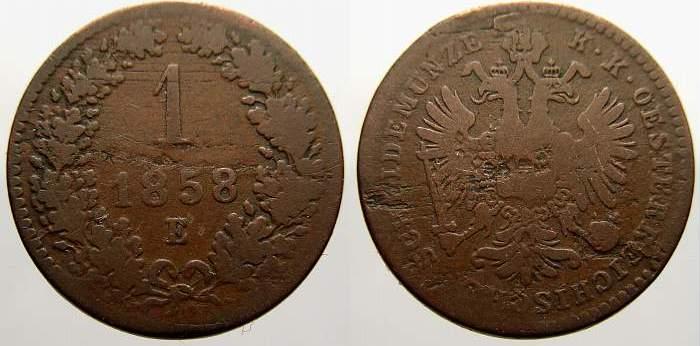 Cu 1 Kreuzer 1858 E Haus Habsburg Franz Joseph I. 1848-1916. Selten. Schön-sehr schön