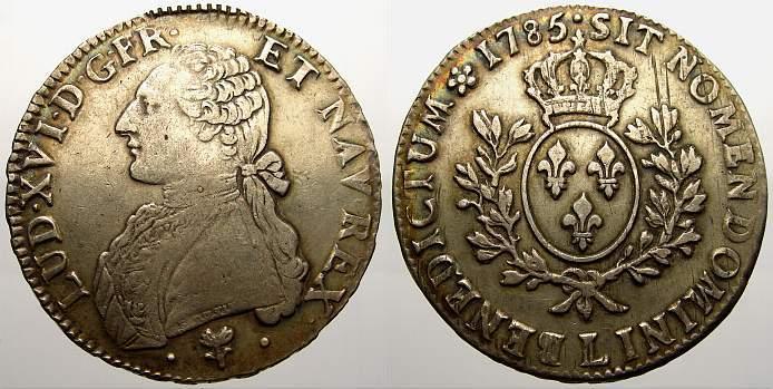 Ecu aux rameaux d'olivier 1785 L Frankreich Ludwig XVI. 1774-1793. Attraktives Exemplar. Sehr schön+ mit schöner Patina und Glanz!