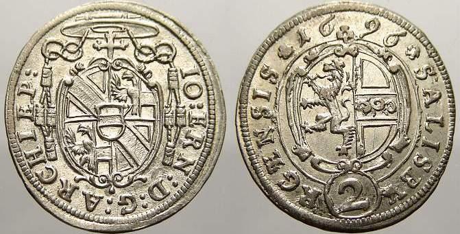 2 Kreuzer 1696 Salzburg, Erzbistum Johann Ernst von Thun und Hohenstein 1687-1709. Fast stempelglanz