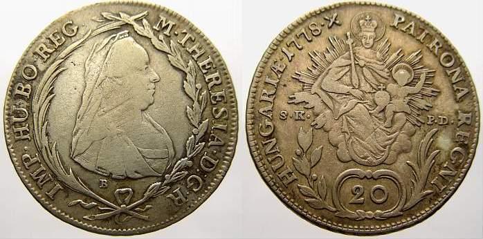 20 Kreuzer 1778 B Haus Habsburg Maria Theresia 1740-1780. Sehr schön-sehr schön+ mit schöner Patina