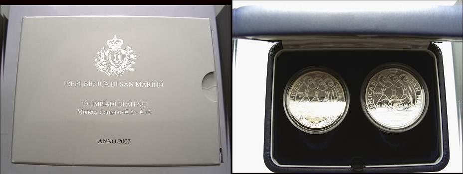 5 + 10 Euro Set 2003 San Marino Polierte Platte