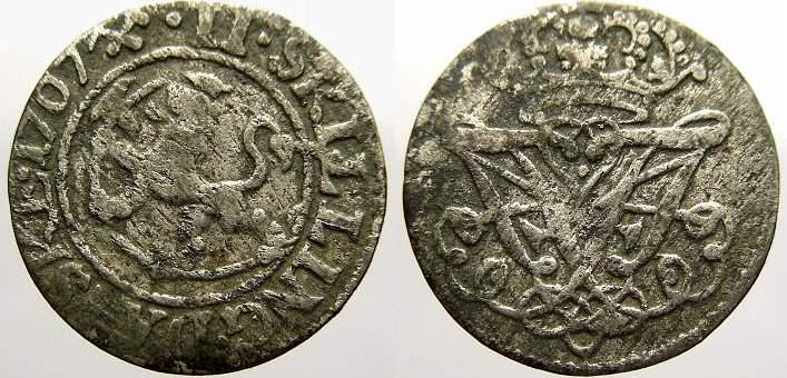 2 Skilling 1707 Norwegen Friedrich IV. 1699-1730. Sehr schön