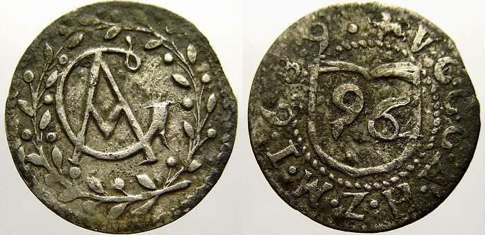 1/96 Taler 1689 Mecklenburg-Güstrow Gustav Adolf 1636-1695. Selten. Min. Schrötlingsfehler am Rand, sehr schön+
