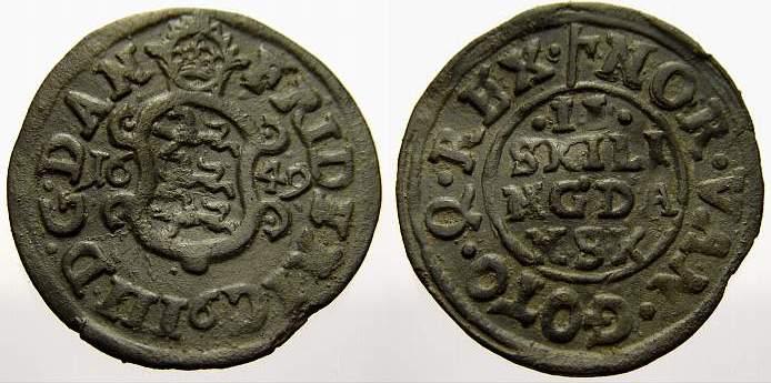 2 Skilling 1649 Dänemark Friedrich III 1648-1670. Leicht gewellt, sehr schön
