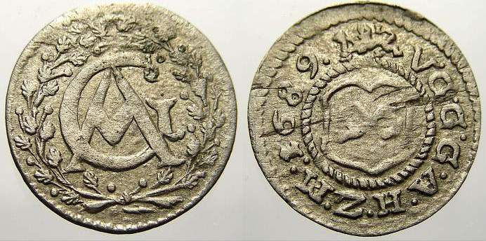 1/96 Taler 1689 Mecklenburg-Güstrow Gustav Adolf 1636-1695. Selten. Sehr schön+