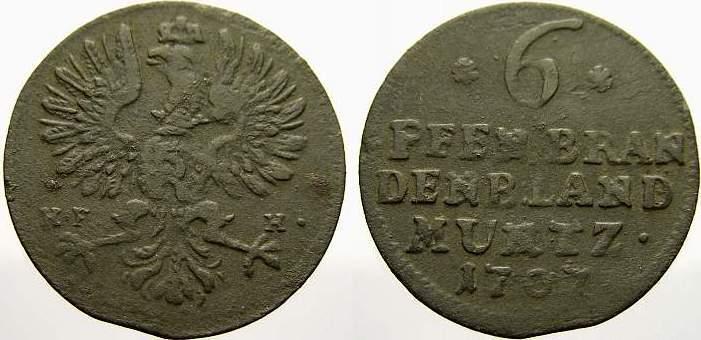 6 Pfennig 1707 HF Brandenburg-Preußen Friedrich I. 1701-1713. Sehr schön