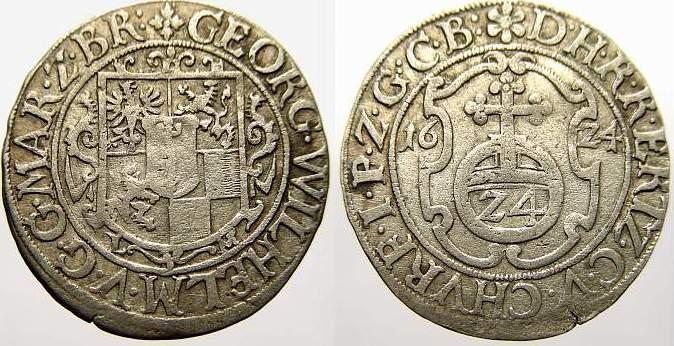 Groschen 1624 L Brandenburg-Preußen Georg Wilhelm 1619-1640. Sehr schön-vorzüglich mit schöner Patina