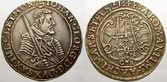 1/4 Taler 1644 C Sachsen-Albertinische Linie Johann Georg I. 1615-1656. Kaum sichtbarer Henkelspur, sonst vorzüglich mit schöner Patina