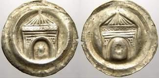 Brakteat 1156-1190 Sachsen-Meißen, markgräflich wettinische Mzst. Otto der Reiche 1156-1190. Von größter Seltenheit. Fast vorzüglich