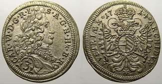 3 Kreuzer (Groschen) 1714  M Haus Habsburg Karl VI. 1711-1740. Seltene Münze und Erhaltung. Vorzüglich