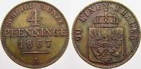 Brandenburg-Preußen Cu 4 Pfennig Wilhelm I. 1861-1888.