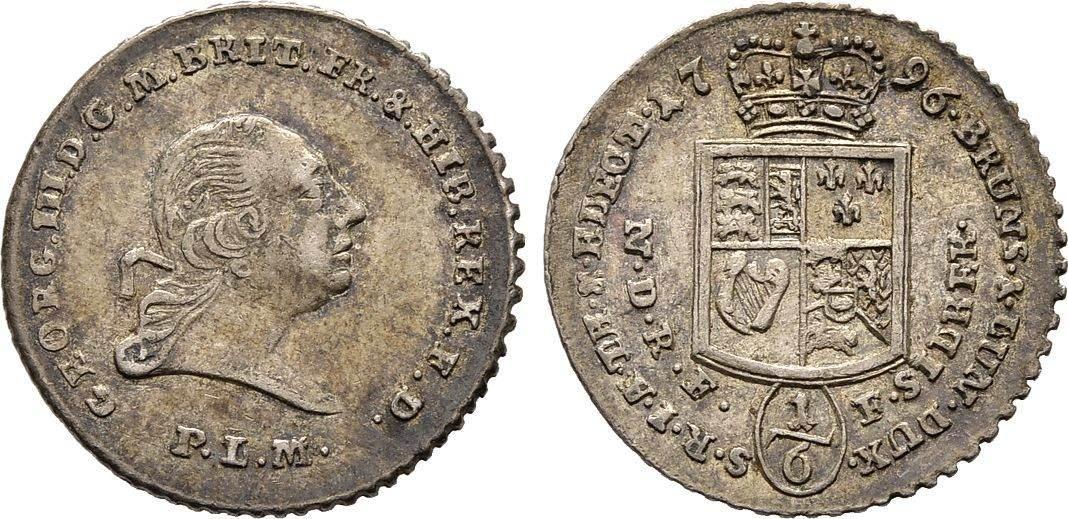 1/6 Taler Feinsilber nach Leipziger Fuss 1796, Diverse Georg III., 1760-1820, seit 1815 König , König von Großbritannien Sehr schön