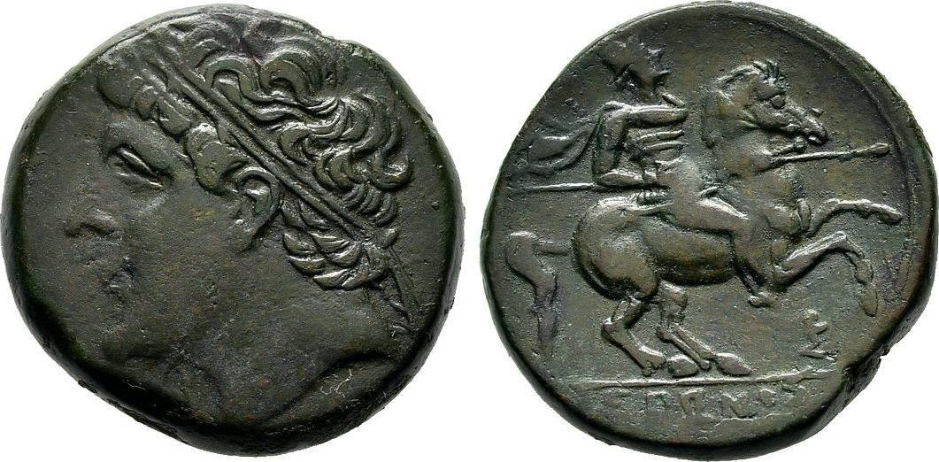Bronze. Sizilien Hieron II., 275-216 v. Chr. Dunkelgrüne Patina Sehr schön