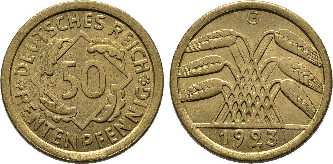 50 Rentenpfennig 1923 G. WEIMARER REPUBLIK Sehr schön