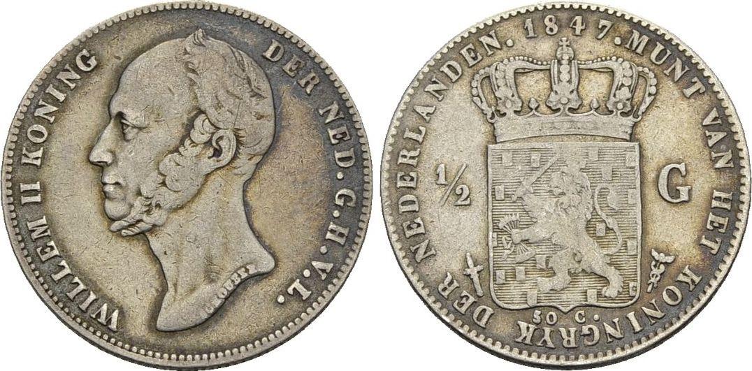 1/2 Gulden 1847. Niederlande Wilhelm II., 1840-1849 Sehr schön -
