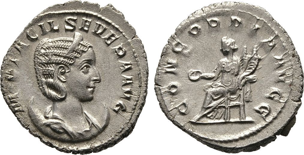 Antoninian 246/248, Kaiserliche Prägungen Philippus I. Arabs für Otacilia Severa. Sehr schön