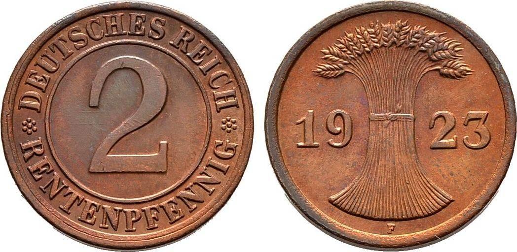 2 Rentenpfennig 1923 F. WEIMARER REPUBLIK Fast Stempelglanz
