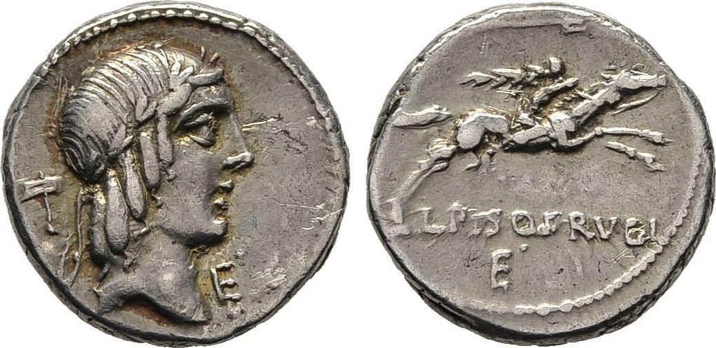 Denar 90 v. Chr. Republikanische Prägungen L. Calpurnius Piso Frugi Sehr schön