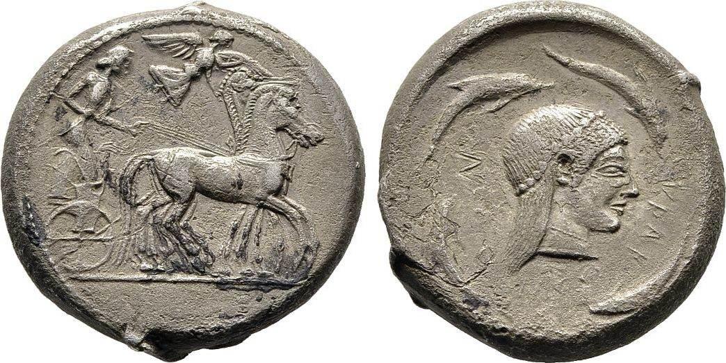 Tetradrachme 480/475 v. Chr. Sizilien Herrschaft der Deinomeniden, 485-465 v. Chr. Sehr schön