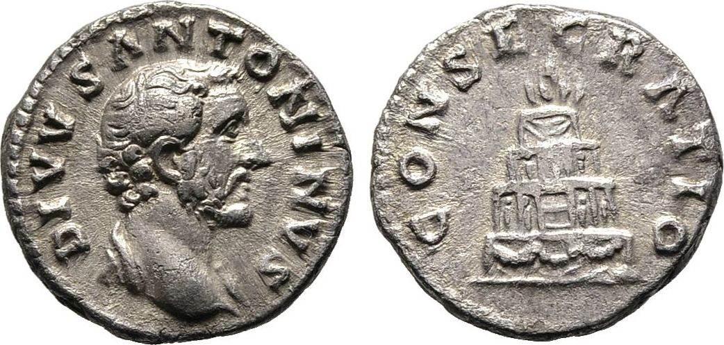 Denar 161, Kaiserliche Prägungen Marcus Aurelius für Divus Antoninus Pius. Sehr schön