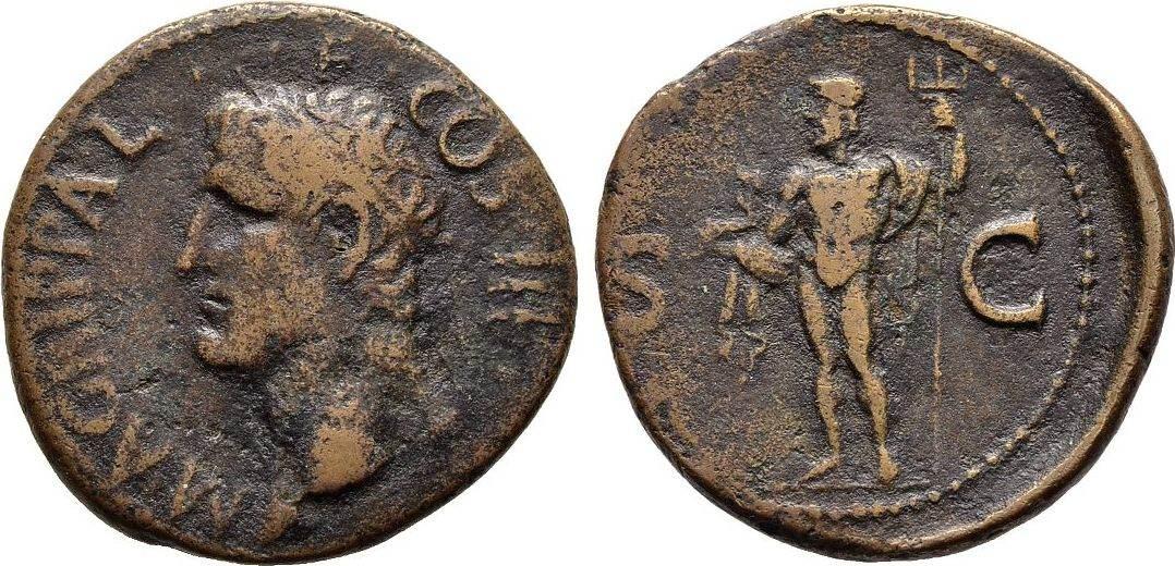 As, Kaiserliche Prägungen Caligula für Agrippa. Sehr schön