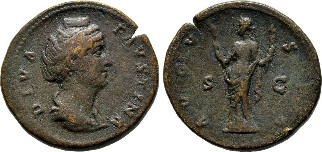 Sesterz nach 141, Kaiserliche Prägungen Antoninus Pius für Diva Faustina I. Sehr schön