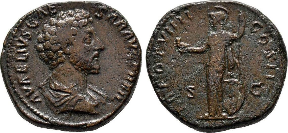 Sesterz 154/155, Kaiserliche Prägungen Antoninus Pius für Marcus Aurelius. Sehr schön