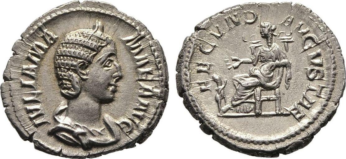 Denar, Kaiserliche Prägungen Severus Alexander für Julia Mamaea. Vorzüglich / Sehr schön