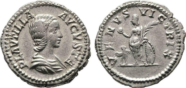Denar 202, Kaiserliche Prägungen Caracalla für Plautilla. Sehr schön