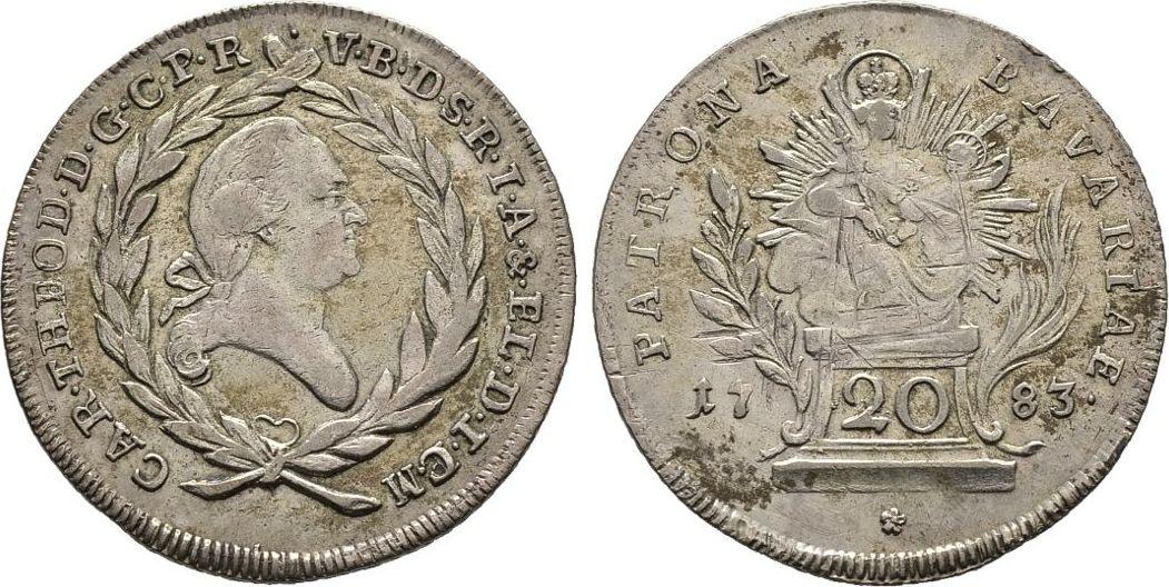 20 Kreuzer 1783, Diverse Karl Theodor, 1777-1799, seit 1743 Kurfürst von der Pfalz und Herzog von Jülich-Berg und Neuburg Gutes sehr schön