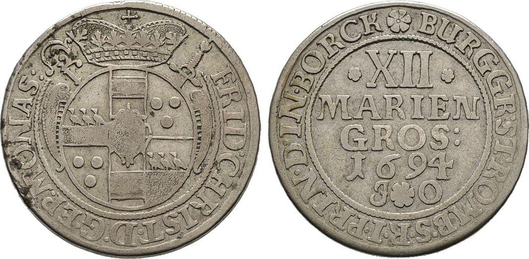 12 Mariengroschen 1694, Diverse Friedrich Christian von Plettenberg, 1688-1706