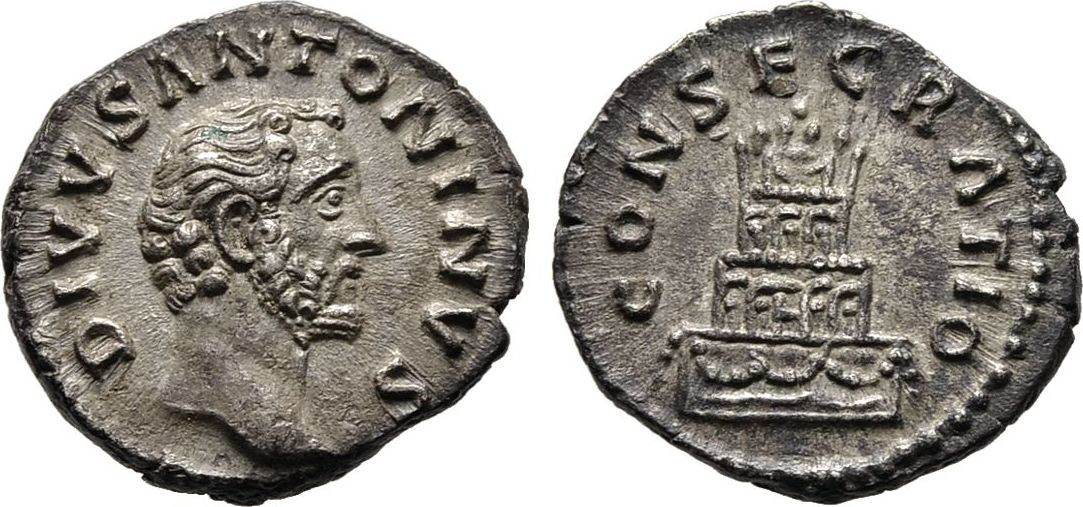 Denar 161, Kaiserliche Prägungen Marcus Aurelius für Divus Antoninus Pius. Vorzüglich