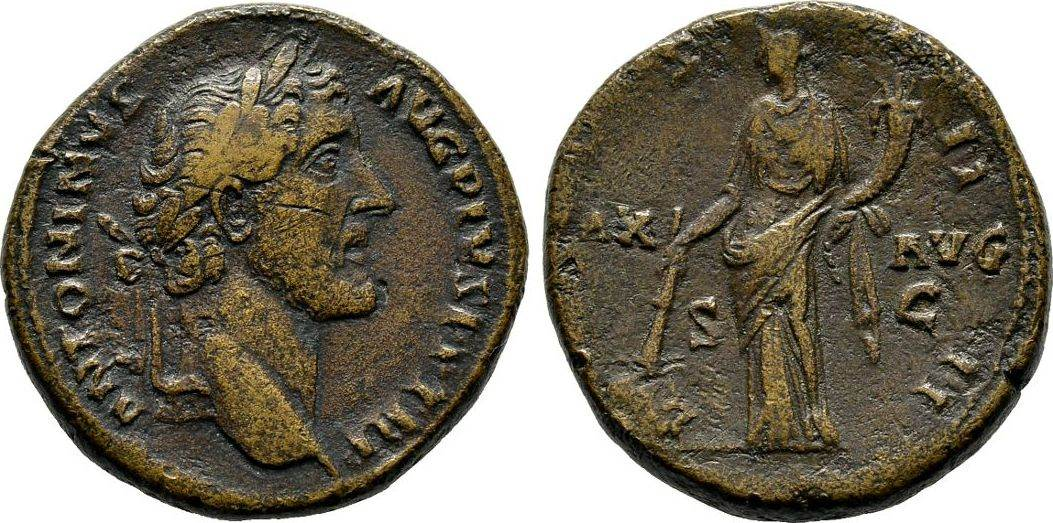 Sesterz 145/161, Kaiserliche Prägungen Antoninus Pius, 138-161. Knapp sehr schön