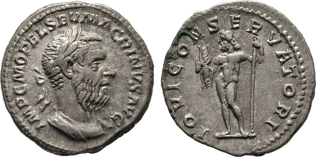 Denar. Kaiserliche Prägungen Macrinus, 217-218. Gutes sehr schön