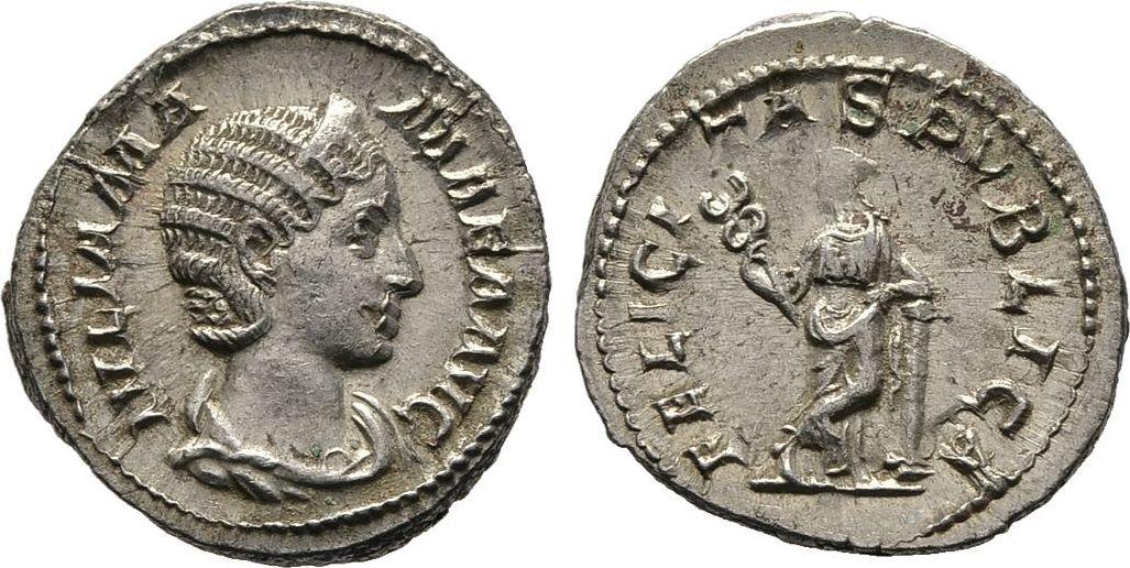 Denar. 228 Kaiserliche Prägungen Severus Alexander für Julia Mamaea. Vorzüglich