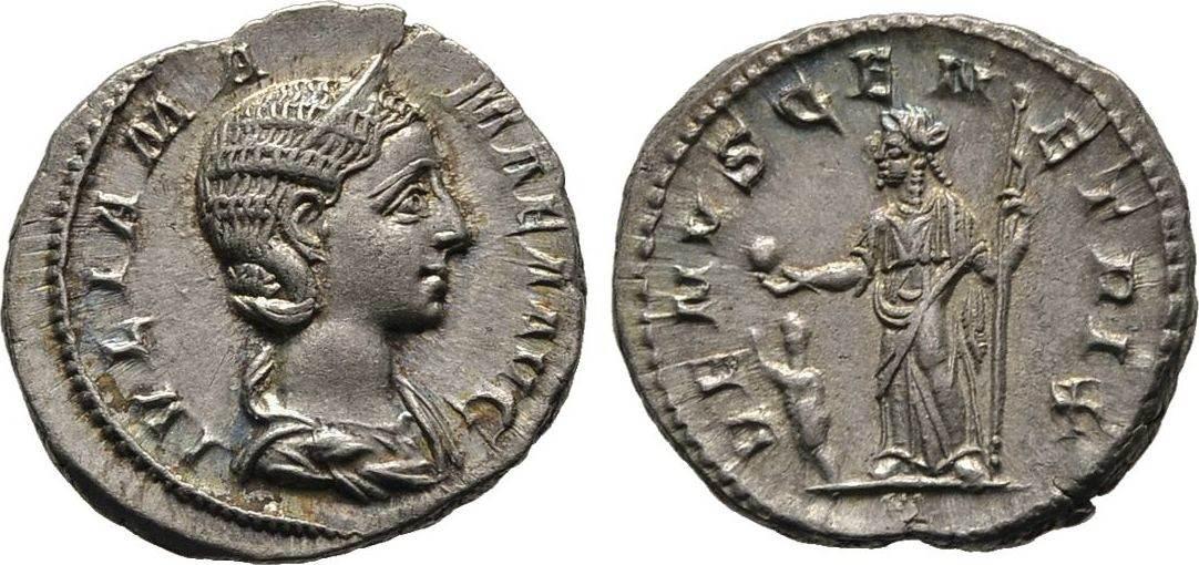 Denar 222/235, Kaiserliche Prägungen Severus Alexander für Julia Mamaea. Vorzüglich