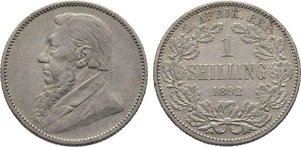 Shilling 1892. Südafrika 1. Republik, 1860-1902 Fast sehr schön