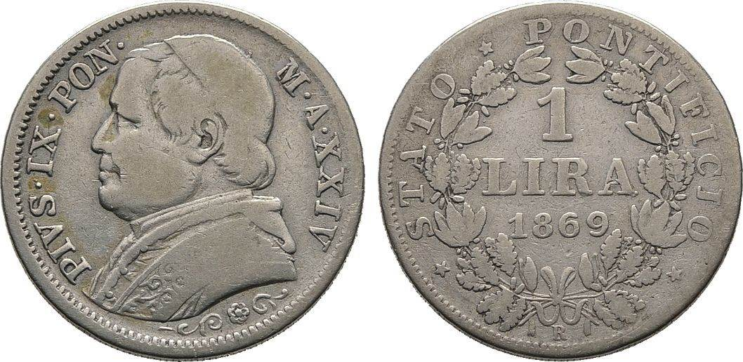 Lira 1869, anno XXIV, Italien Pius IX., 2. Regierung 1849-1878 Schön/Sehr schön
