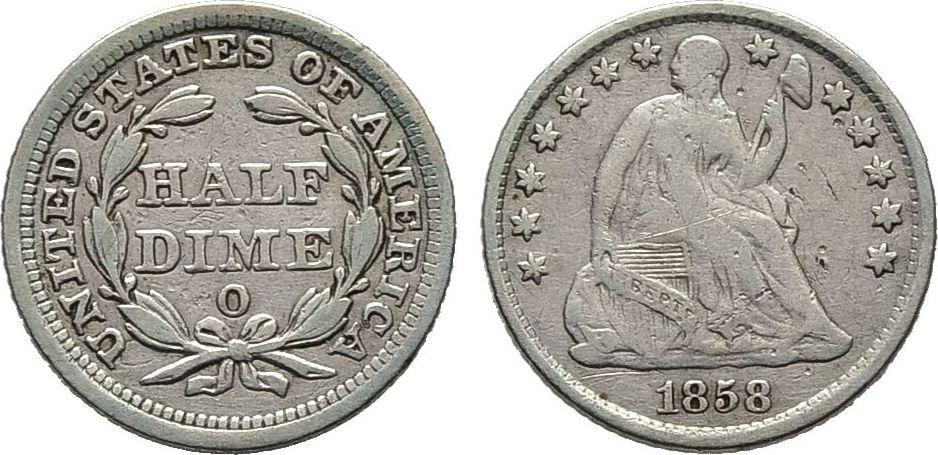 5 Cents 1858 O, USA Sehr schön / Schön
