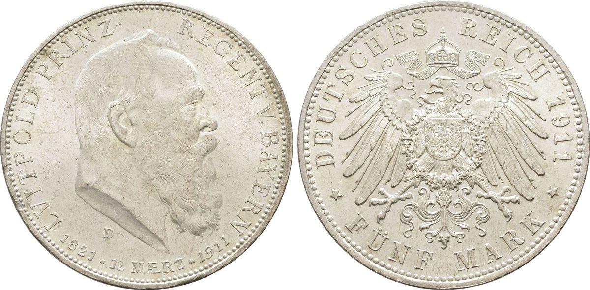 5 Mark 1911, BAYERN, KÖNIGREICH Luitpold, Prinzregent 1886-1912 Vorzüglich