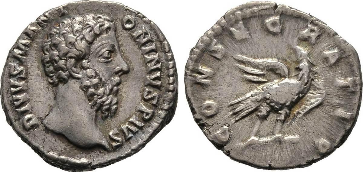 Denar nach 180, Kaiserliche Prägungen Commodus für Divus Marcus Aurelius. Sehr schön