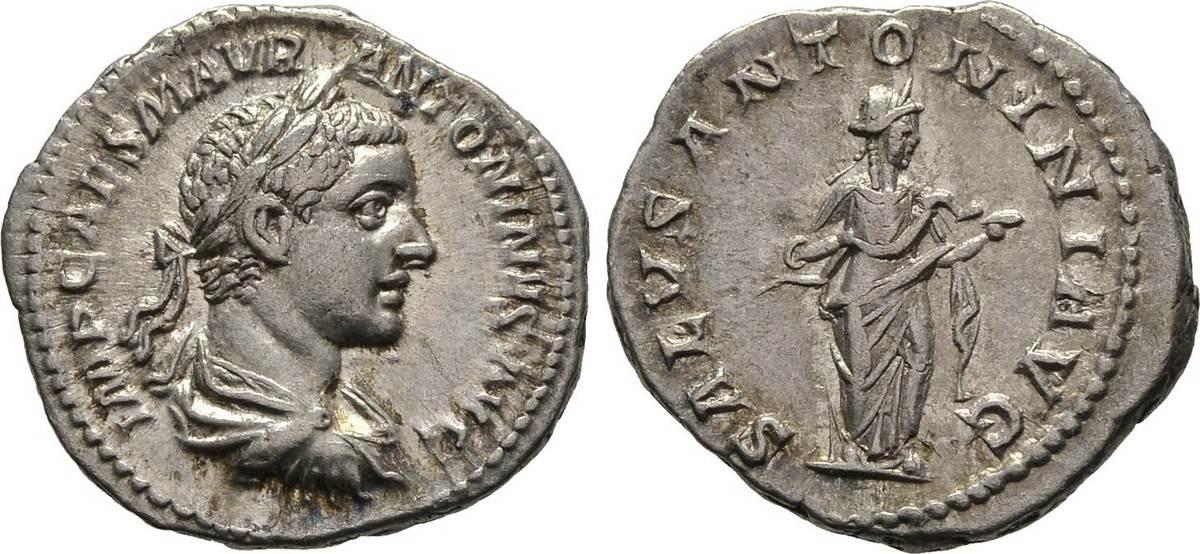 Denar. Kaiserliche Prägungen Elagabalus, 218-222. Fast vorzüglich
