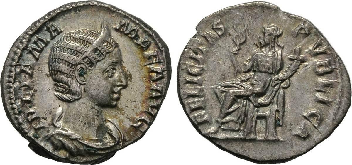 Denar 222/235, Kaiserliche Prägungen Severus Alexander für Julia Mamaea.
