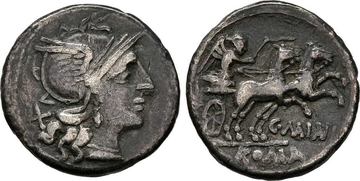Denar 153 v. Chr., Republikanische Prägungen C. Maianius Fast sehr schön